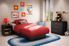 Twin Size Contemporary Black Finish Platform Bed