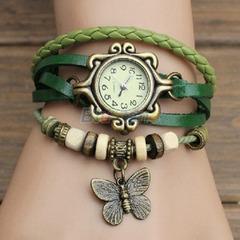 Artificial Leather Womens Bracelet Butterfly Wristwatch